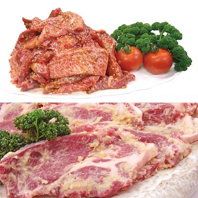 国産豚肩ロース味噌漬け+黒毛和牛味付け焼肉用